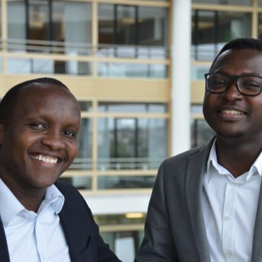 Alexander Badong from Ghana and Simon Manyara from Kenya at Boehringer Ingelheim